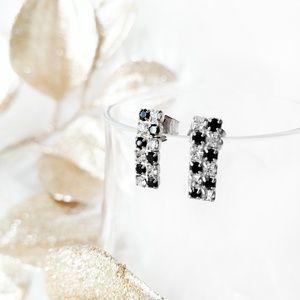 Rhinestone Earrings•Black Checkered•Stud•Pronged